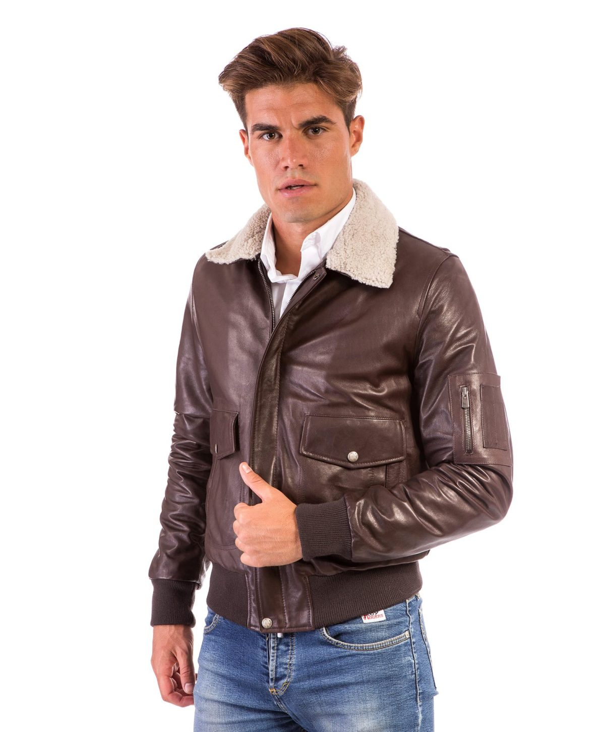 aviator-dark-brown-colour-lamb-leather-bomber-jacket-shearling-collar