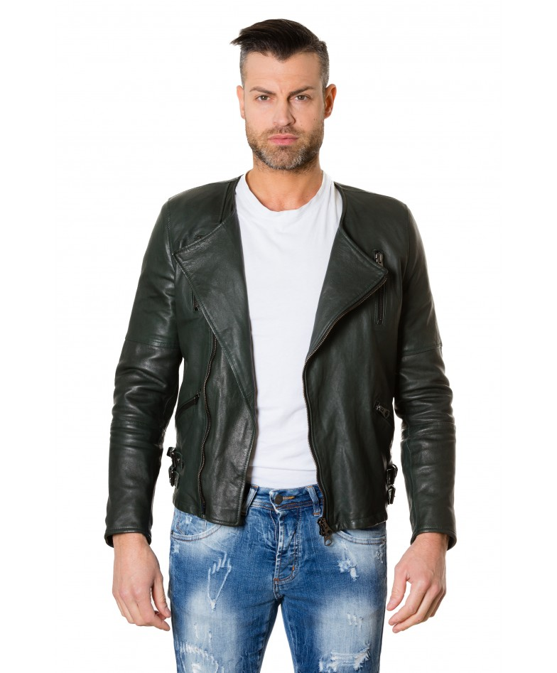 clou2-green-colour-lamb-leather-jacket-no-collar-perfecto (2)