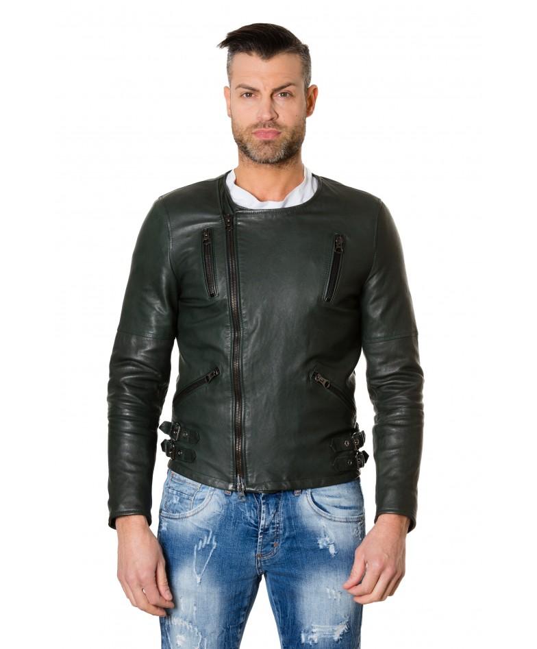 clou2-green-colour-lamb-leather-jacket-no-collar-perfecto