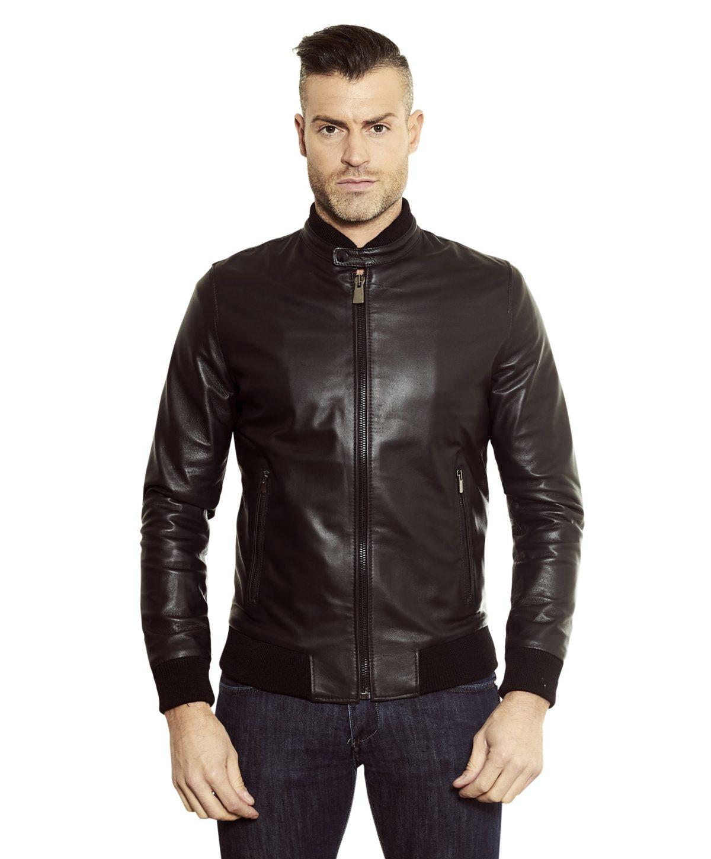 gaudi-black-colour-letaher-bomber-jacket-smooth-aspect