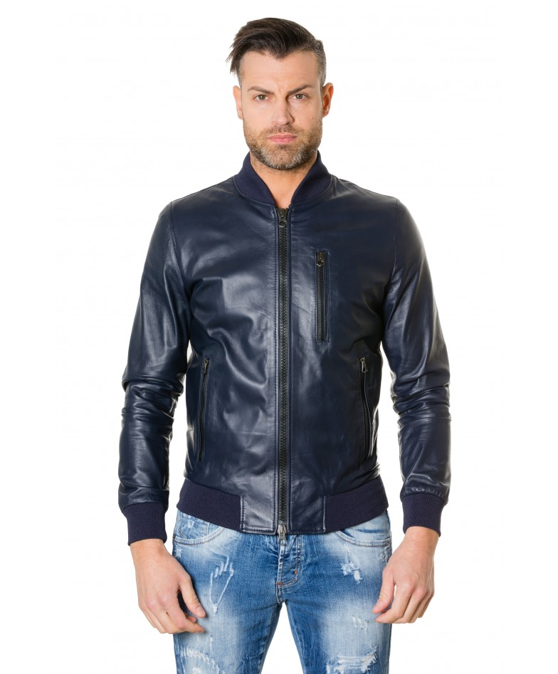 gaudil-blue-colour-letaher-bomber-jacket-smooth-aspect