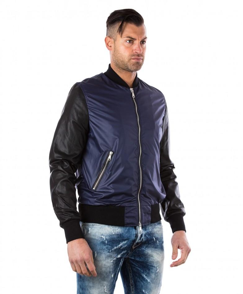 giacca-in-pelle-da-uomo-con-polsini-e-collo-in-cotone-modello-bomberino-blu-college-collezione-uomo-d-arienzo-collezione (2)