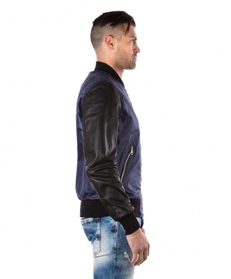 giacca-in-pelle-da-uomo-con-polsini-e-collo-in-cotone-modello-bomberino-blu-college-collezione-uomo-d-arienzo-collezione (3)