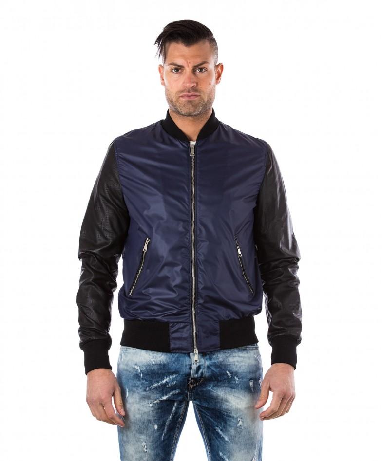 giacca-in-pelle-da-uomo-con-polsini-e-collo-in-cotone-modello-bomberino-blu-college-collezione-uomo-d-arienzo-collezione
