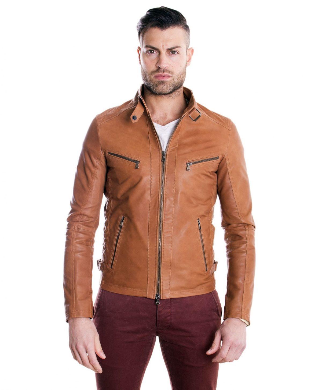 giacca-in-pelle-modello-biker-con-fibbia-al-collo-e-carre-slim-fit-cuoio-daniel-