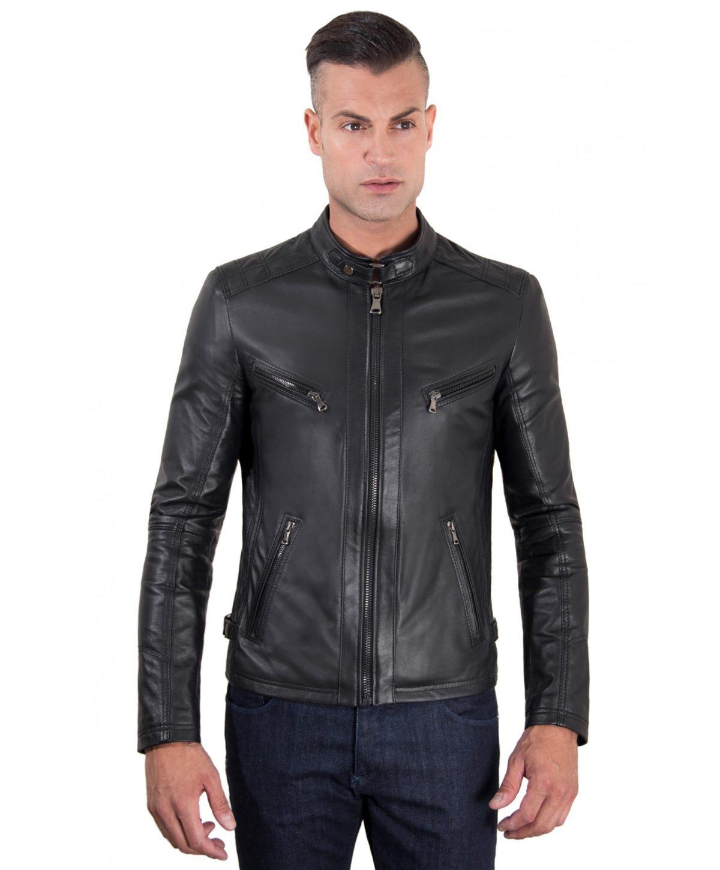 giacca-in-pelle-modello-biker-con-fibbia-al-collo-e-carre-slim-fit-nera-daniel