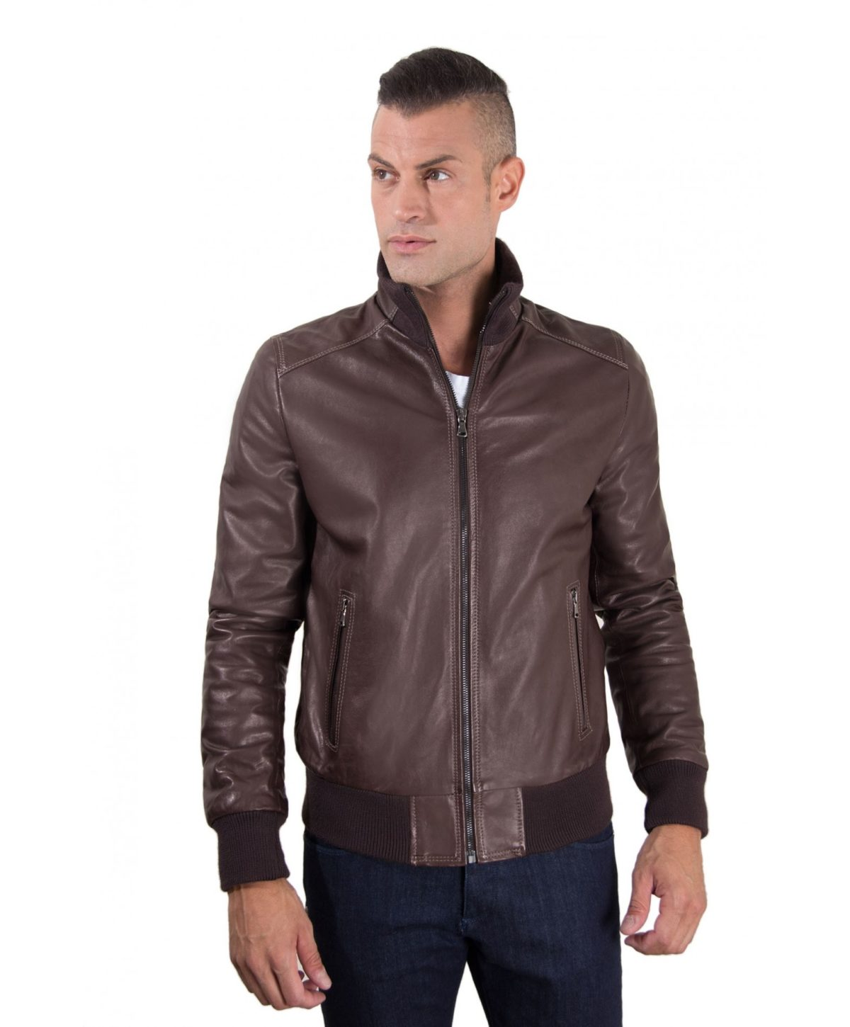 men-s-leather-jacket-contrasting-stitching-style-bomber-dark-brown-color-bomber