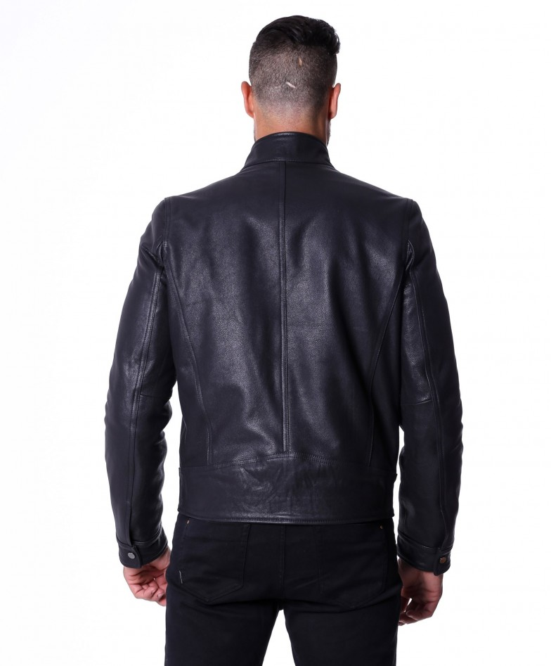 men-s-leather-jacket-genuine-lamb-leather-biker-buckle-collar-black-color-max (4)