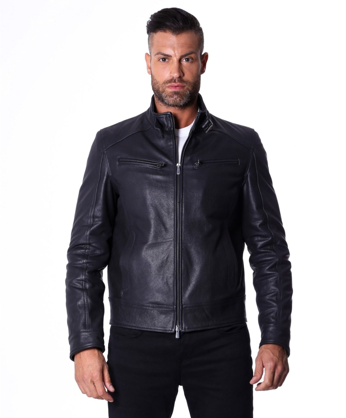men-s-leather-jacket-genuine-lamb-leather-biker-buckle-collar-black-color-max