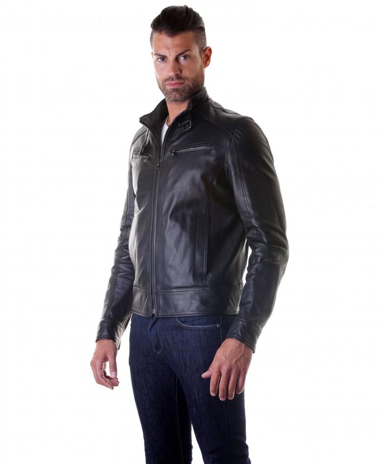 men-s-leather-jacket-genuine-soft-leather-biker-buckle-collar-black-color-modmax