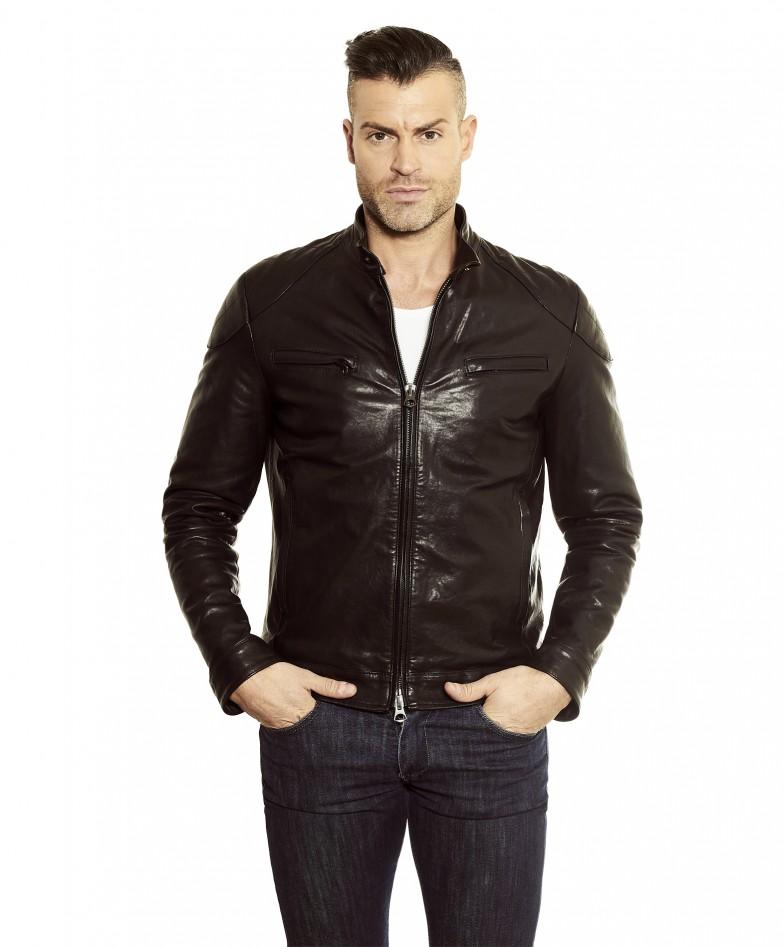 men-s-leather-jacket-genuine-soft-leather-biker-mao-collar-quilted-yoke-black-color-u410