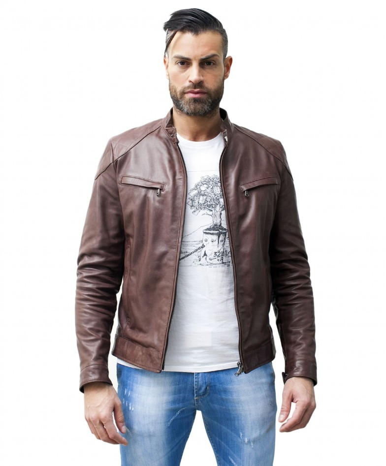 men-s-leather-jacket-genuine-soft-leather-biker-mao-collar-quilted-yoke-brown-color-u410brown (1)