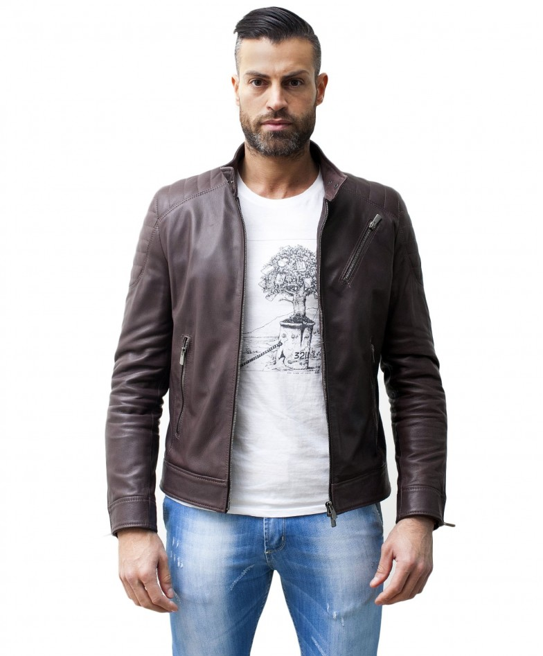 men-s-leather-jacket-genuine-soft-leather-biker-mao-collar-quilted-yoke-dark-brown-color-u411 (2)
