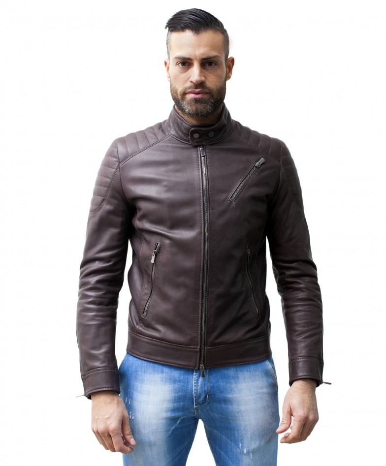men-s-leather-jacket-genuine-soft-leather-biker-mao-collar-quilted-yoke-dark-brown-color-u411
