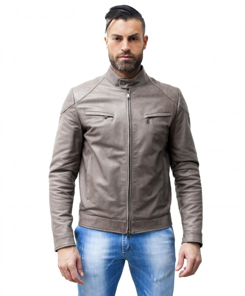 men-s-leather-jacket-genuine-soft-leather-biker-mao-collar-quilted-yoke-grey-color-u410