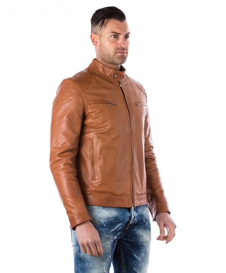 men-s-leather-jacket-genuine-soft-leather-biker-mao-collar-quilted-yoke-tan-color-u410 (2)
