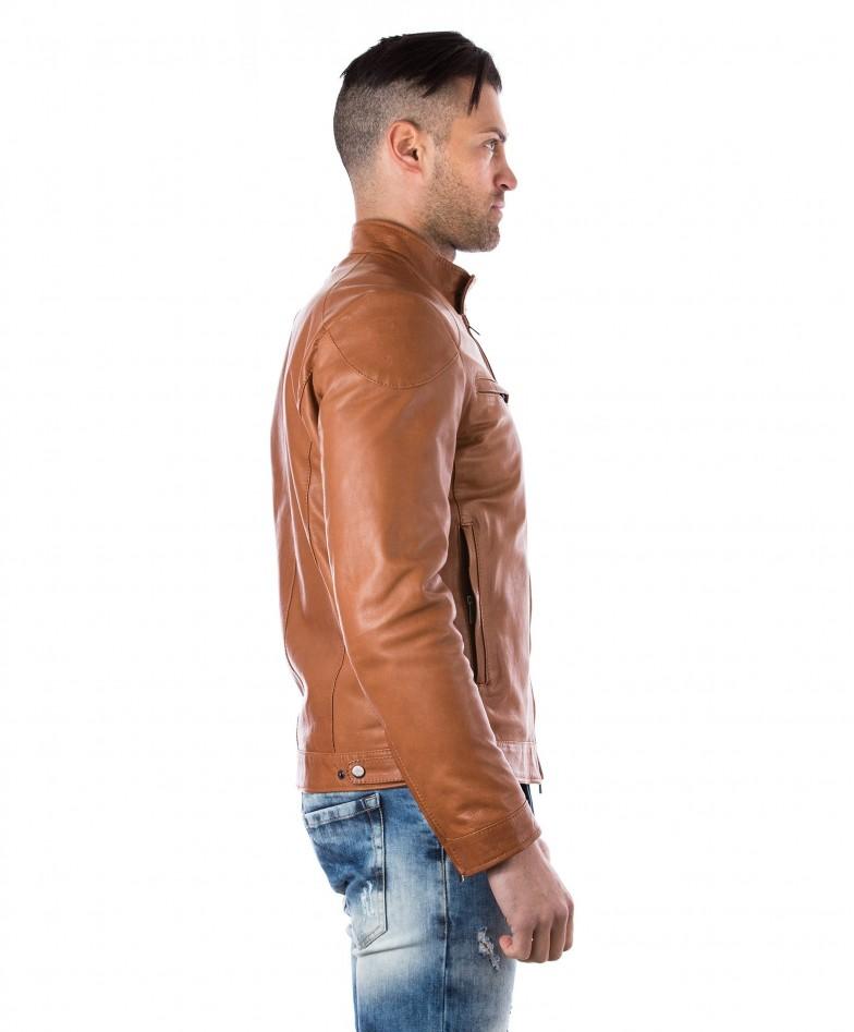 men-s-leather-jacket-genuine-soft-leather-biker-mao-collar-quilted-yoke-tan-color-u410 (3)