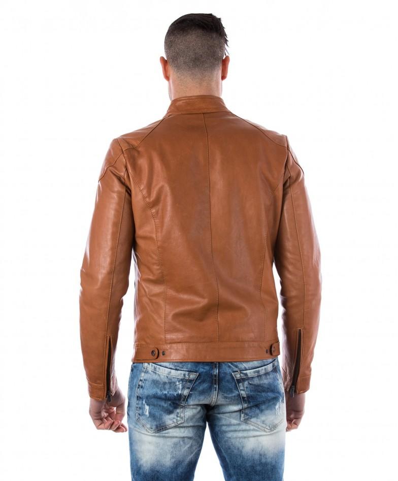 men-s-leather-jacket-genuine-soft-leather-biker-mao-collar-quilted-yoke-tan-color-u410 (4)
