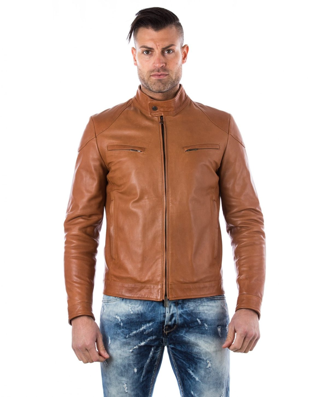 men-s-leather-jacket-genuine-soft-leather-biker-mao-collar-quilted-yoke-tan-color-u410