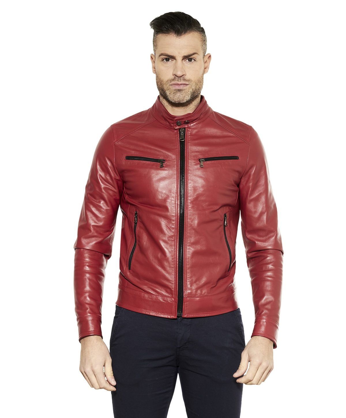 men-s-leather-jacket-genuine-soft-leather-biker-style-collar-mao-red-color-hamilton