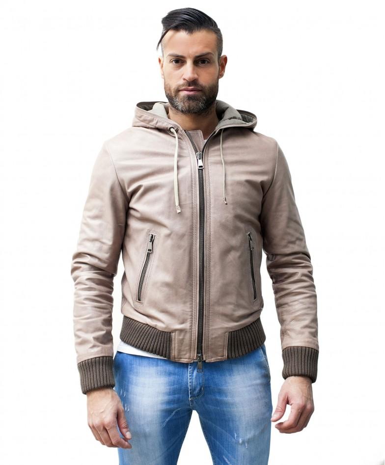 men-s-leather-jacket-genuine-soft-leather-hood-bomber-central-zip-beige-color-u408