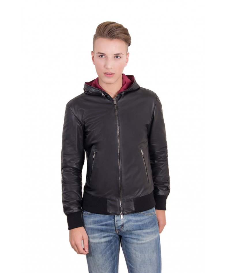 men-s-leather-jacket-genuine-soft-leather-hood-bomber-central-zip-black-color-mod-biancolino