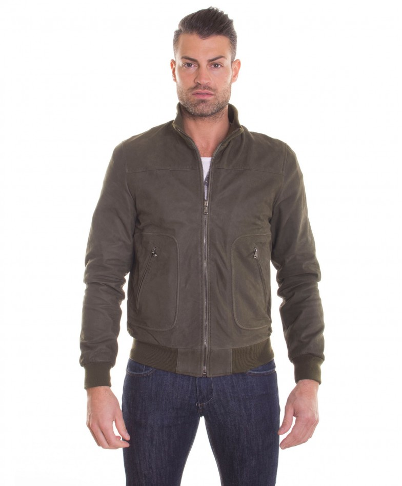 men-s-leather-jacket-genuine-soft-leather-nabuk-style-bomber-wool-cuffs-and-bottom-central-zip-green-color-mod-alex