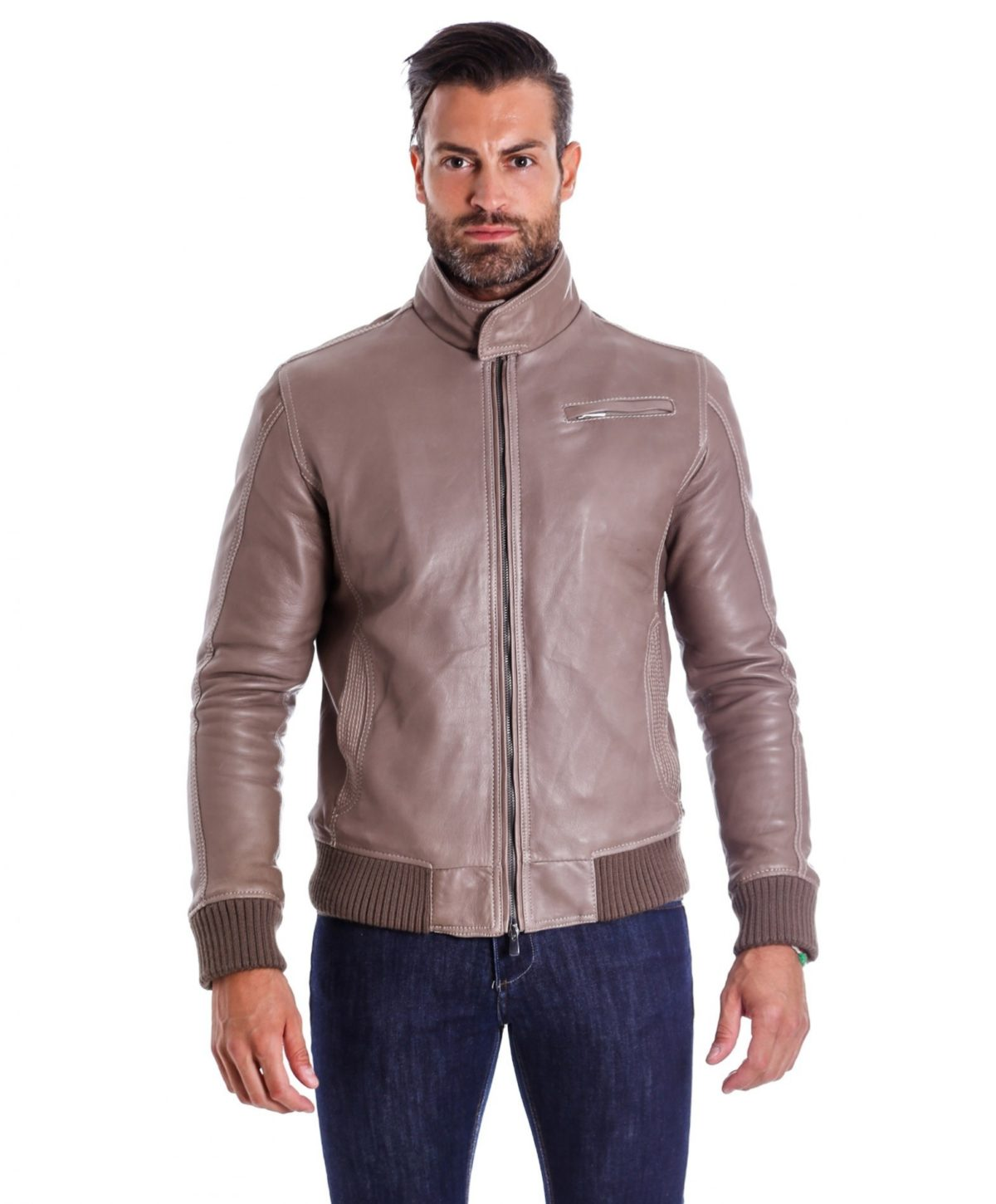 men-s-leather-jacket-genuine-soft-leather-style-bomber-bicolor-wool-cuffs-and-bottom-one-zip-pocket-light-grey-color-thil