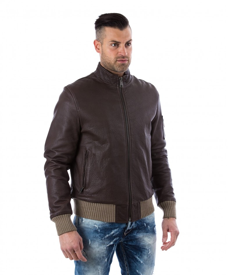 men-s-leather-jacket-genuine-soft-leather-style-bomber-central-zip-green-color-bomber (2)