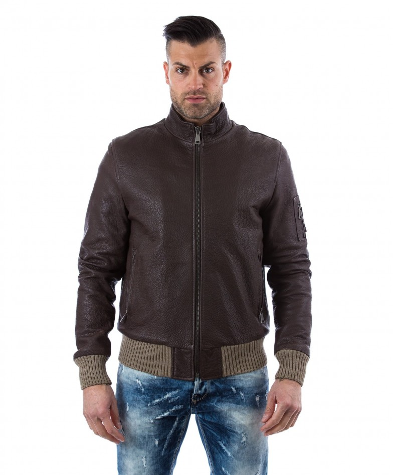 men-s-leather-jacket-genuine-soft-leather-style-bomber-central-zip-green-color-bomber