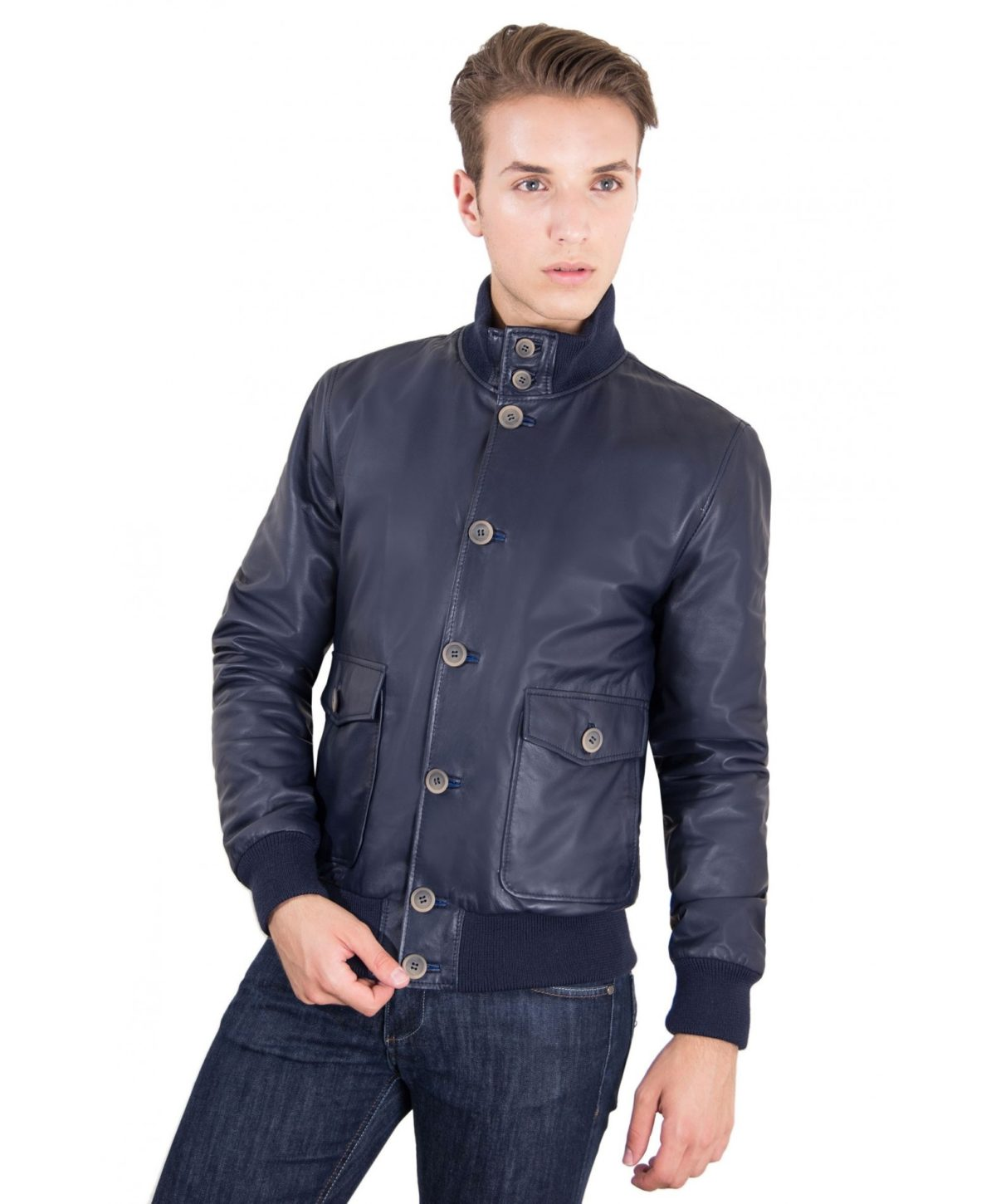 men-s-leather-jacket-genuine-soft-leather-style-bomber-wool-cuffs-and-bottom-buttons-closing-blue-color-alex-bottoni