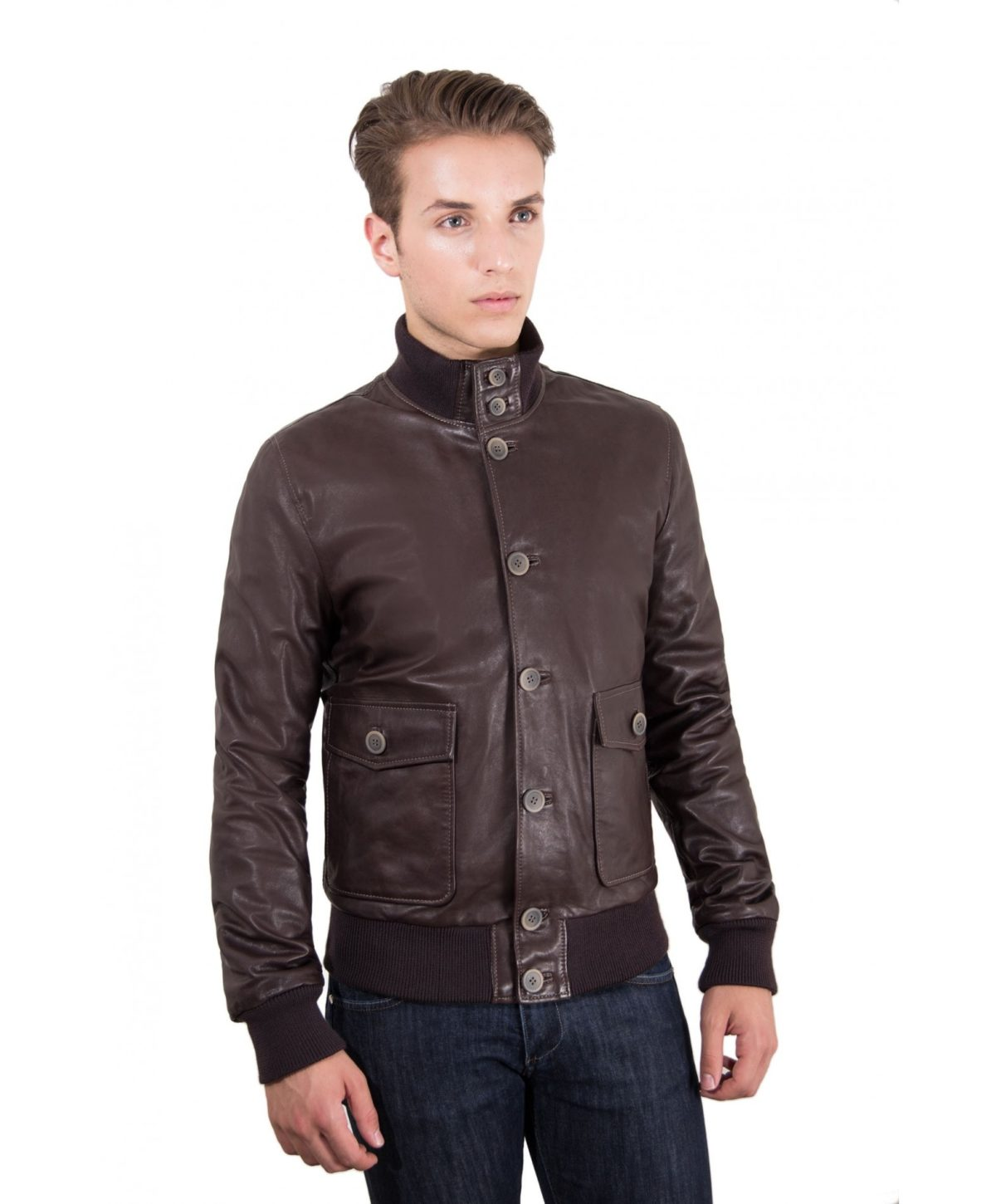 men-s-leather-jacket-genuine-soft-leather-style-bomber-wool-cuffs-and-bottom-buttons-closing-dark-brown-color-alex-bottoni
