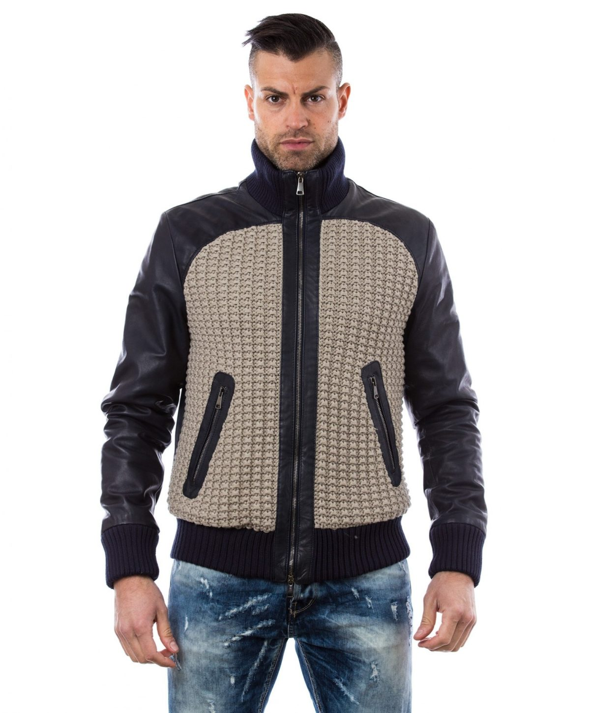 men-s-leather-jacket-style-bomber-wool-parts-and-zip-pockets-color-blue