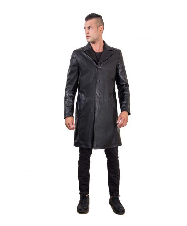 men-s-long-leather-jacket-genuine-soft-leather-2-pockets-buttons-closing-black-color-mod-032-matrix