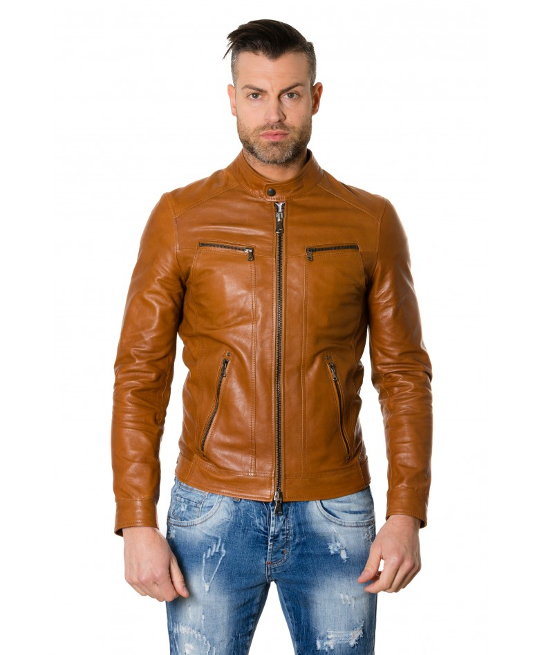 roberto-tan-colour-lamb-leather-jacket-vintage-aspect
