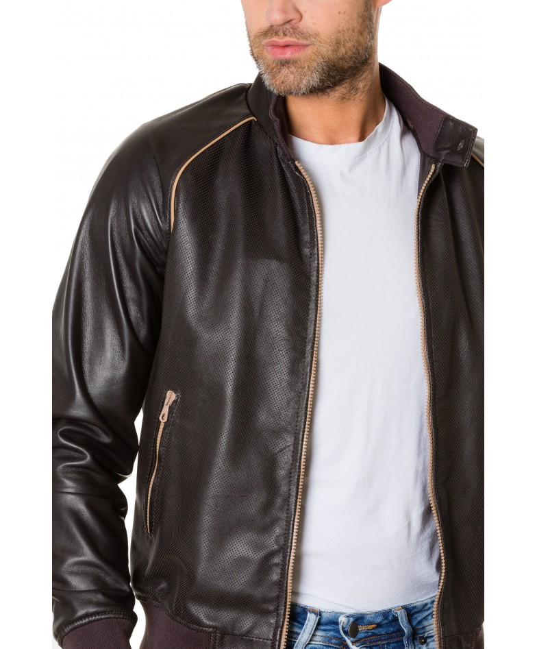 1066-dark-brown-colour-perfored-leather-bomber-jacket-smooth-aspect (1)