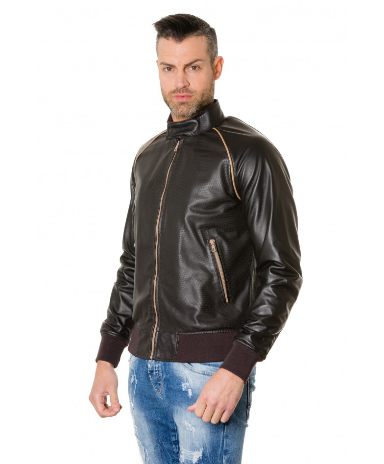 1066-dark-brown-colour-perfored-leather-bomber-jacket-smooth-aspect (2)
