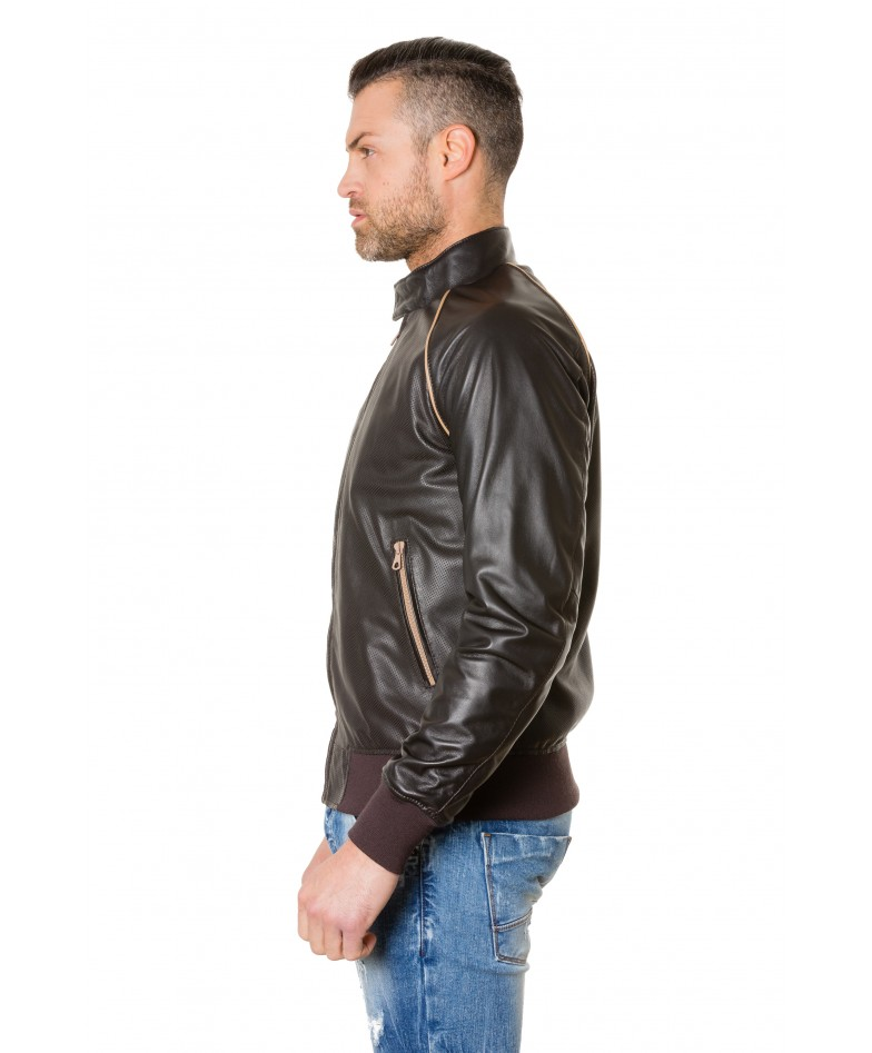 1066-dark-brown-colour-perfored-leather-bomber-jacket-smooth-aspect (3)