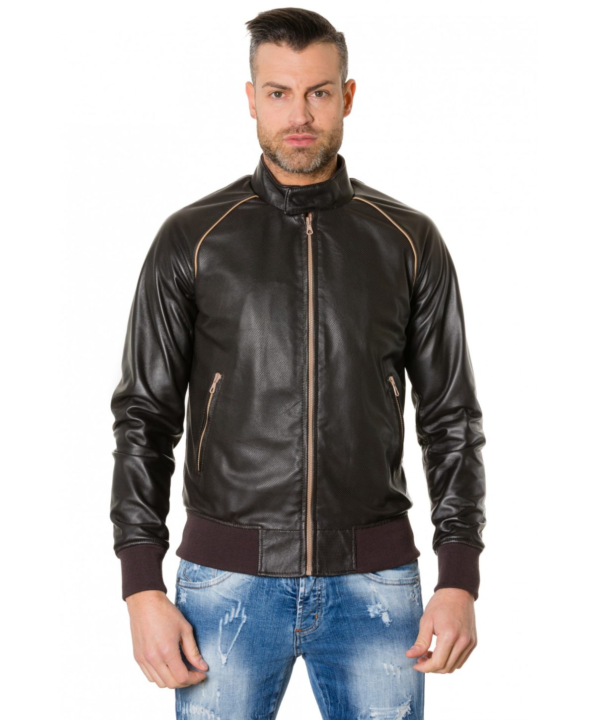 1066-dark-brown-colour-perfored-leather-bomber-jacket-smooth-aspect