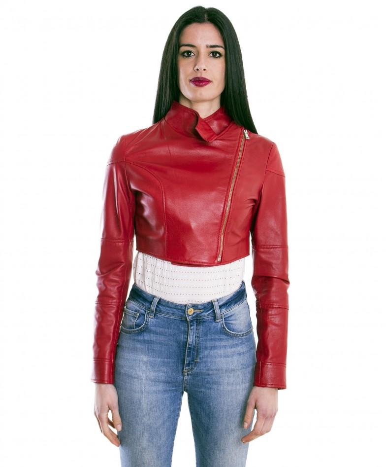 bolero-in-pelle-donna-rosso-fiamma