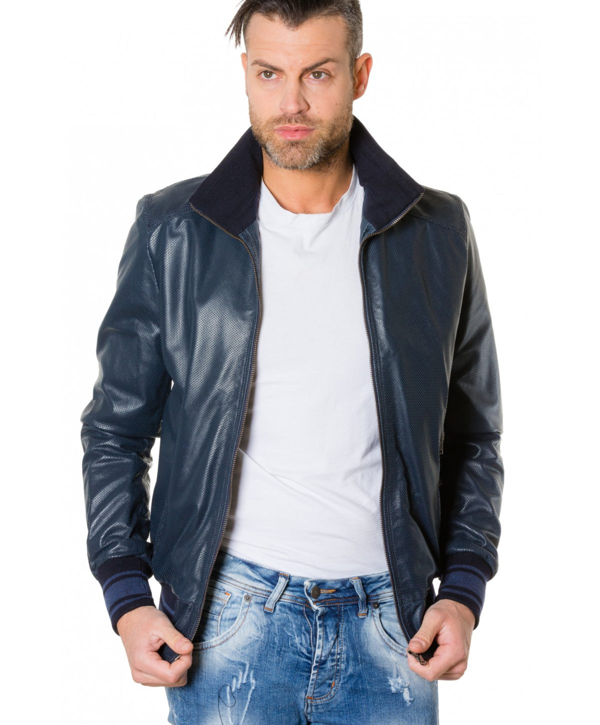 bomber-blue-colour-perforated-leather-jacket-bicoloured-collar (1)