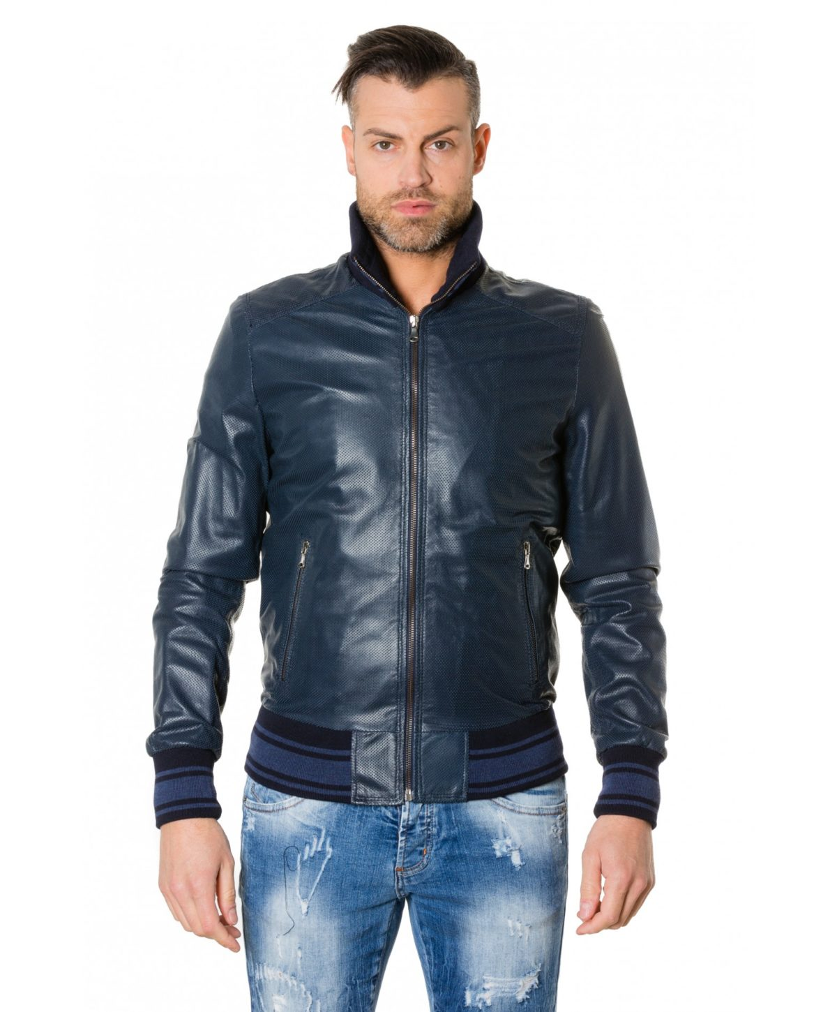 bomber-blue-colour-perforated-leather-jacket-bicoloured-collar