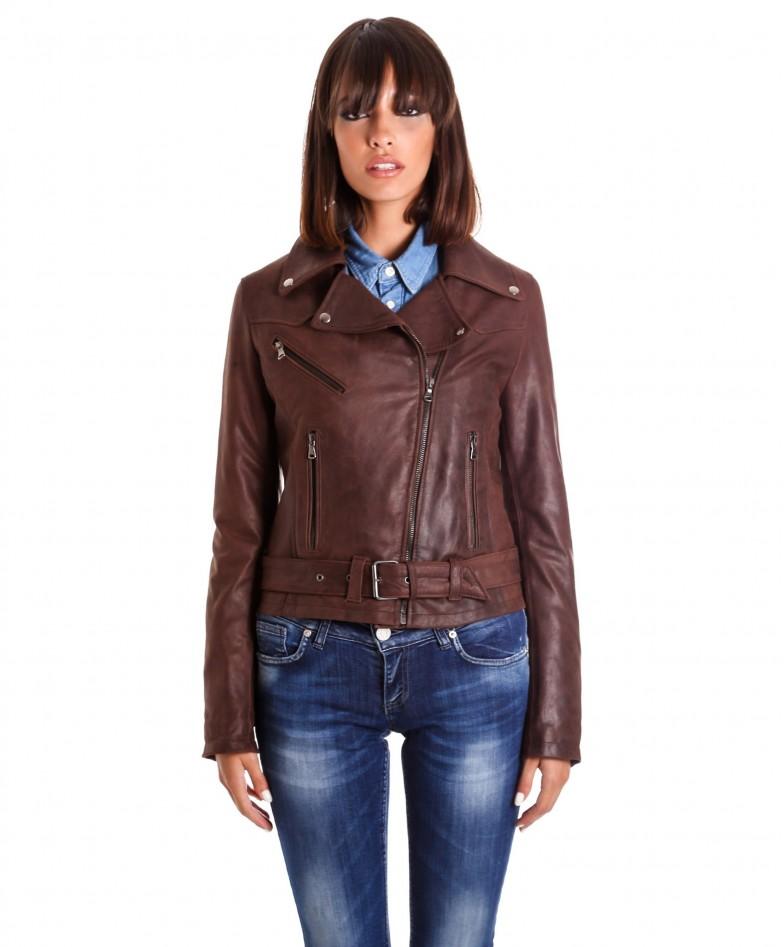 chiodo-in-pelle-donna-modello-biker-zip-trasversale-colore-marrone-nabuk-sandy