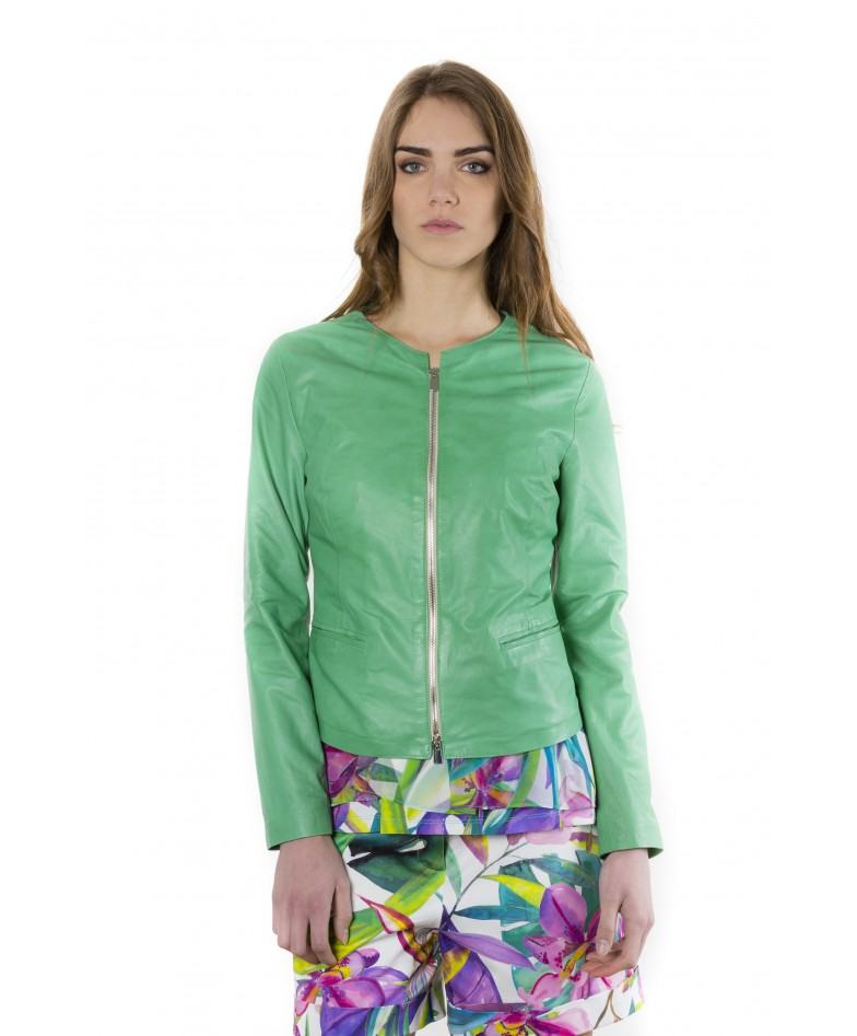 clear-green-color-lamb-leather-round-neck-jacket