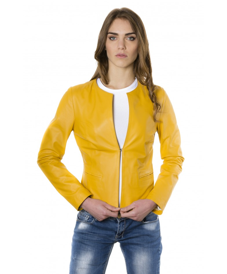 clear-yellow-color-lamb-leather-round-neck-jacket