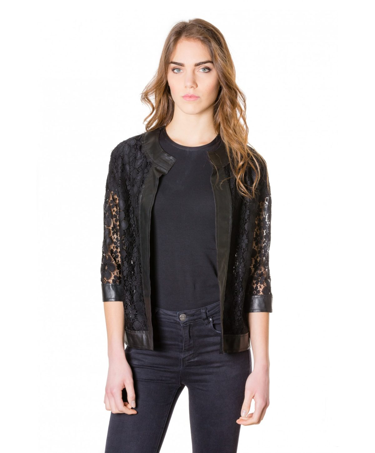 emma-pizzo-black-colour-woman-lace-jacket-with-leather-edges