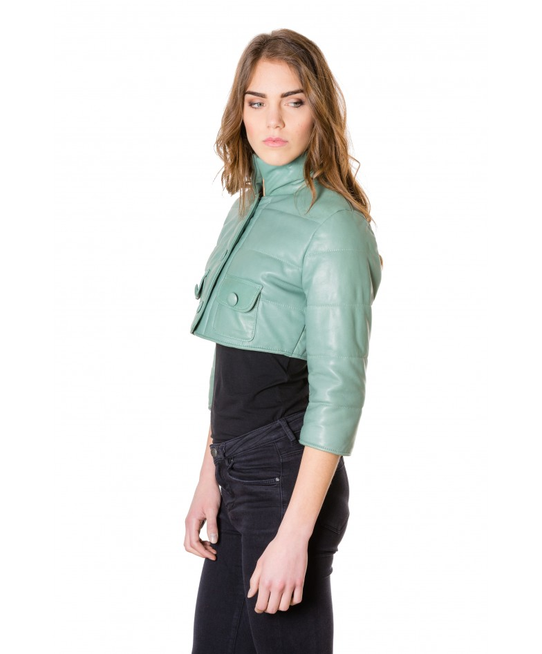 f107-green-colour-nappa-lamb-short-leather-jacket-smooth-aspect (2)