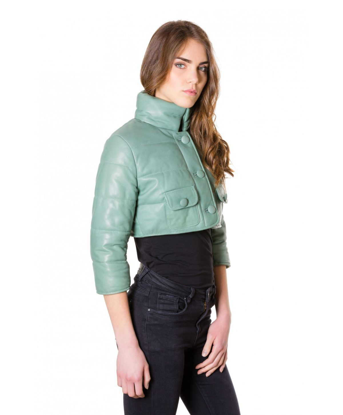 f107-green-colour-nappa-lamb-short-leather-jacket-smooth-aspect (4)