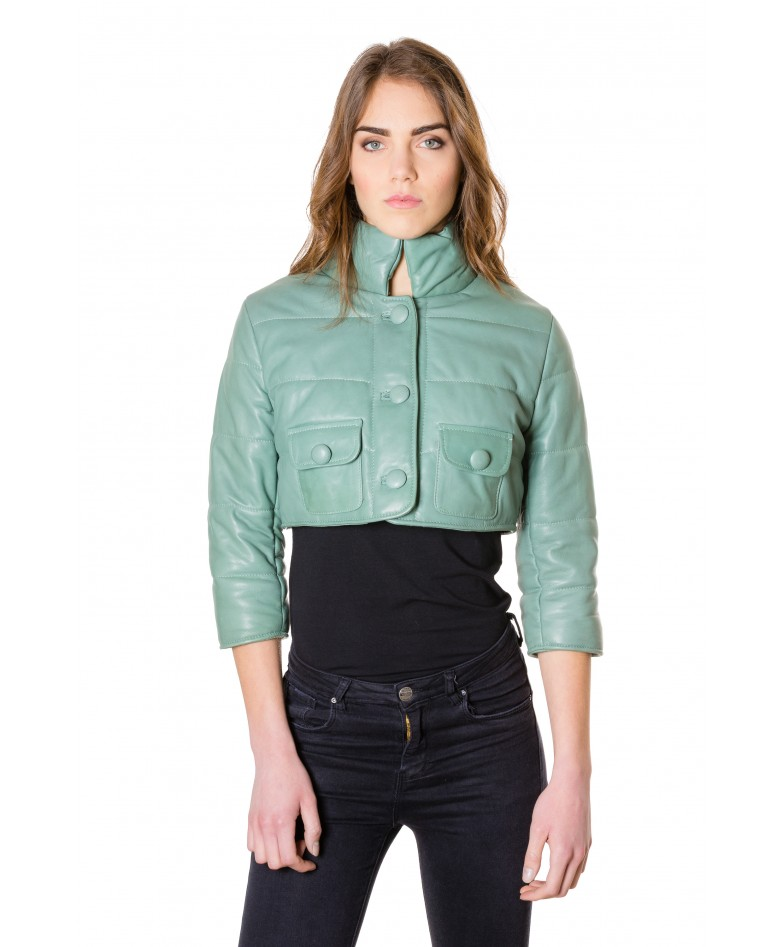 f107-green-colour-nappa-lamb-short-leather-jacket-smooth-aspect