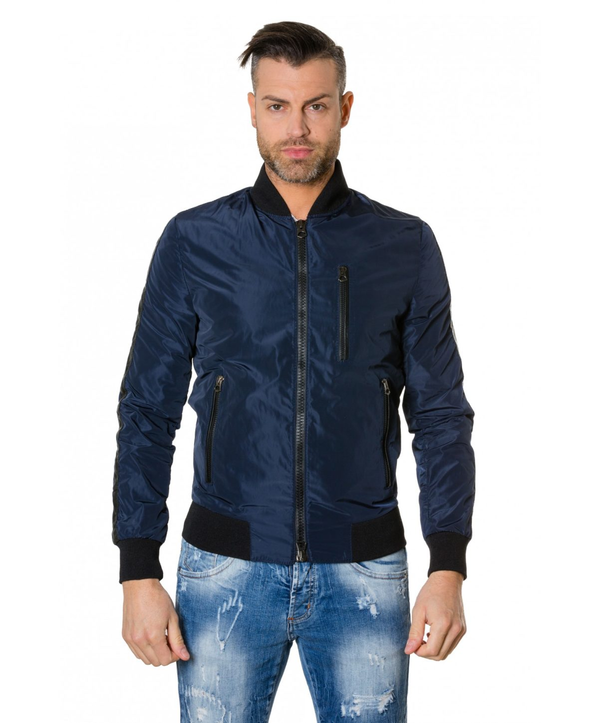 gaudil-blue-navy-colour-fabric-bomber-jacket-with-leather-inserts